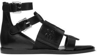 Balmain Logo-embossed Leather Sandals - Black