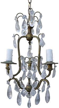 One Kings Lane Vintage 3-Light Rock Crystal Chandelier