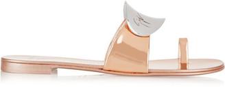 Giuseppe Zanotti - Embellished Metallic Patent-leather Sandals - IT35 $550 thestylecure.com