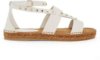 Jimmy Choo Denise Stud Embellished Leather Espadrilles - Womens - White