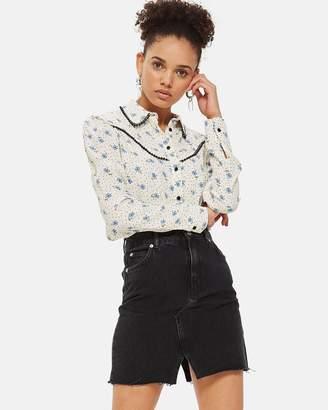 Topshop Mini-Midi Denim Skirt