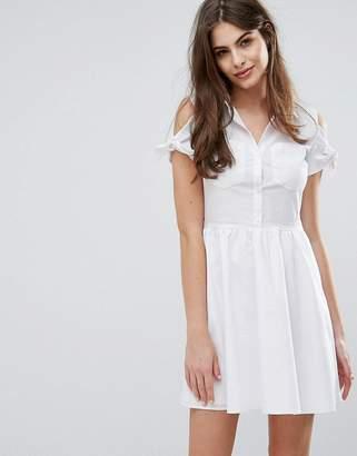 Oasis Cotton Tie Shoulder Shirt Dress $67 thestylecure.com