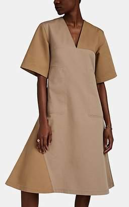 Loewe Women's Colorblocked Cotton Twill A-Line Dress - Beige, Tan