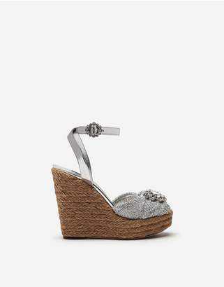 Dolce & Gabbana Lame Knit Wedge Sandals With Bejeweled Detail