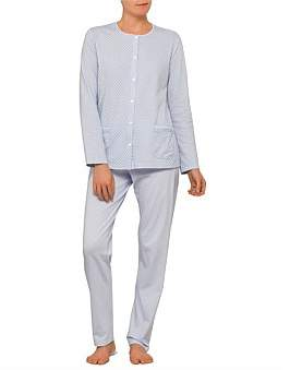 Linclalor Long Sleeve Geometric Button Up Pyjama Set With Pockets