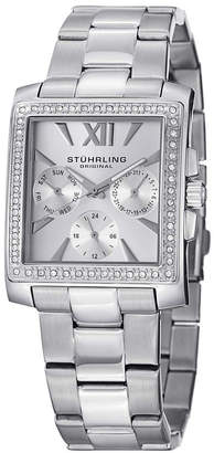 Stuhrling Original Stainless Steel Square Case on Link Bracelet Swarovski Crystal Studded Bezel Watch