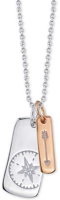 "Unwritten Two-Tone Vertical Tag Arrow & Compass 18"" Pendant Necklace in Sterling Silver & Rose Gold-Flash"