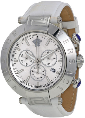 Versace Open Box - Reve Silver Dial White Leather Ladies Watch