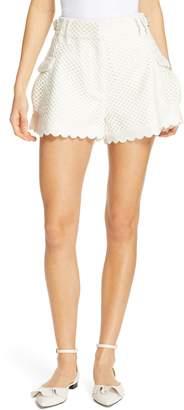 Self-Portrait Scalloped Crochet Shorts
