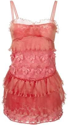 Giamba floral appliqué ruched dress