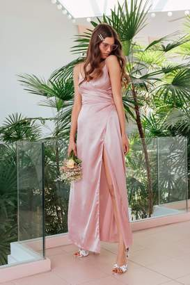 Nasty Gal Womens Right Bride Your Side Satin Maxi Dress - Pink - 8