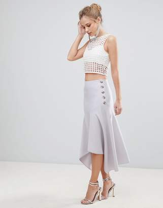 Asos Design Hanky Hem Midi Skirt with Side Button Detail