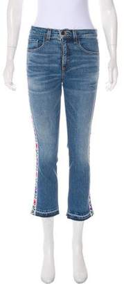 Veronica Beard Embroidered Mid-Rise Jeans w/ Tags