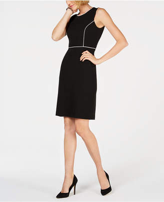 Kasper Crepe Contrast-Trim Dress