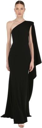 Alex Perry One Shoulder Long Crepe Dress