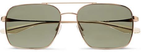Barton Perreira Volair Square-Frame Aviator-Style Gold-Tone Sunglasses