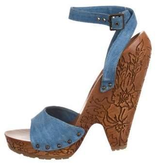 Stella McCartney Denim Platform Sandals Blue Denim Platform Sandals