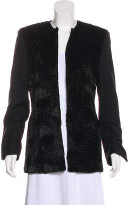 Gianfranco Ferre Vegan Fur-Trimmed Wool Coat