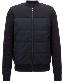 BOSS Hugo Bomber-style sweatshirt padded body & textured sleeves XXL Open Blue