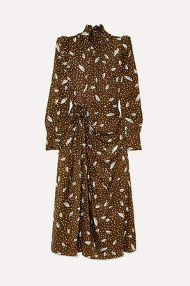 Alessandra Rich Gathered Printed Silk-jacquard Midi Dress - Brown