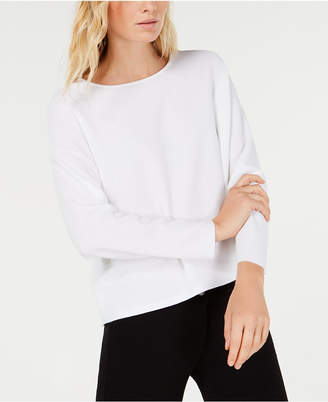 Eileen Fisher Tencel Jewel-Neck Boxy Sweater