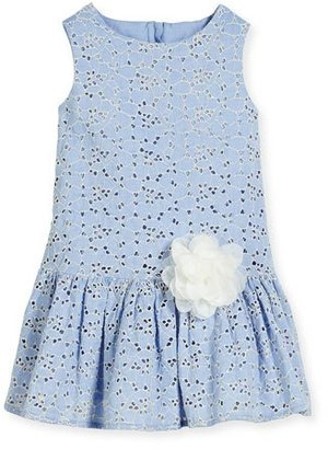 Charabia Linda Sleeveless Smocked Floral Chambray Dress, Blue, Size 5-8 $175 thestylecure.com