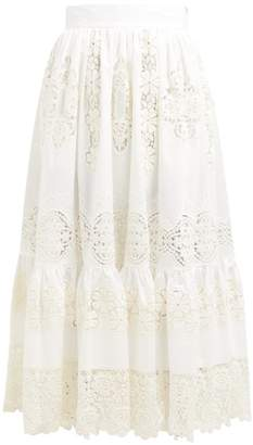 Dolce & Gabbana Embroidered Guipure Lace Cotton Blend Maxi Skirt - Womens - White