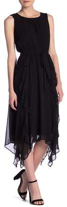 Gabby Skye Sleeveless Ruffle Trim Waist Tie Dress