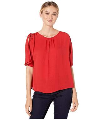 Vince Camuto Split Sleeve Drop Shoulder Rumple Georgette Blouse
