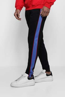 boohoo Skinny Jersey Jogger With Tricot Panel