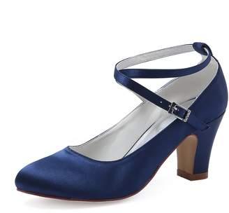 Elegantpark HC1808 Women Cross Ankle Strap Pumps Chucky Heel Closed Toe Satin Bridal Wedding Shoes US 6