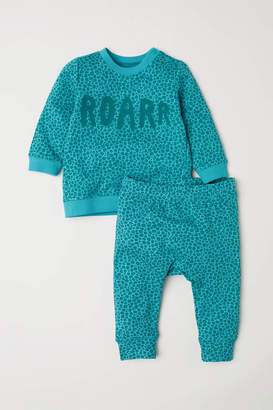 H&M Top and Pants - Turquoise/leopard print - Kids