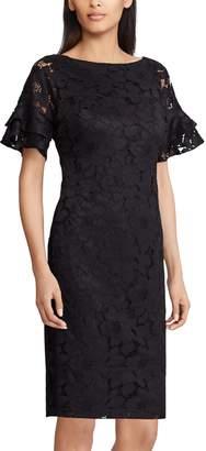 Chaps Women's Lace Ruffle-Sleeve Sheath Dress