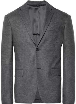 Prada Dark-Grey Slim-Fit Mélange Virgin Wool-Flannel Suit Jacket