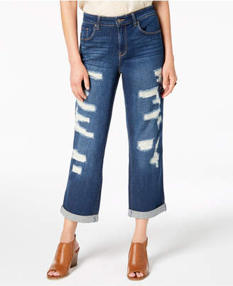Style&Co. Style & Co Ripped Curvy-Fit Boyfriend Jeans, Created for Macy's
