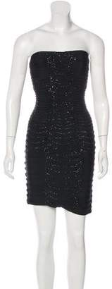Herve Leger Embellished & Pleated Bandage Dress