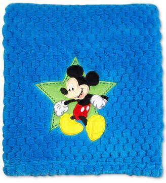 Disney Mickey Mouse Embroidered Applique Textured Popcorn Fleece Blanket Bedding