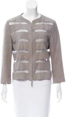 Armani Collezioni Suede & Silk Zip-Up Jacket