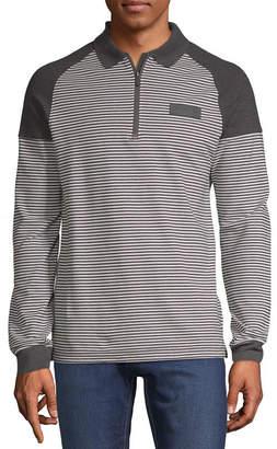U.S. Polo Assn. USPA Long Sleeve Stripe Pique Polo Shirt Slim