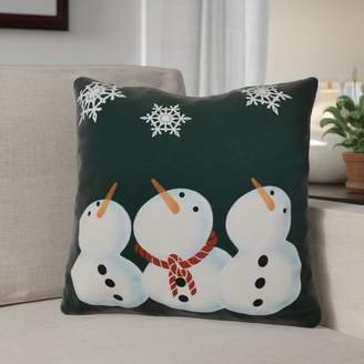The Holiday Aisle Decorative Snowmen Geometric Print Throw Pillow