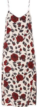 GANNI - Elmira Floral-print Silk Crepe De Chine Dress - Claret $260 thestylecure.com
