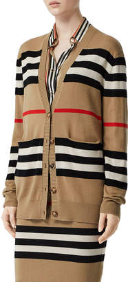 Burberry Icon-Stripe Merino Cardigan