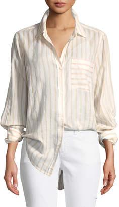 Current/Elliott The Boyfriend Long-Sleeve Button-Front Striped Cotton Shirt