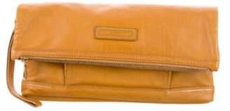 Longchamp Leather Fold-Over Wristlet Clutch gold Leather Fold-Over Wristlet Clutch