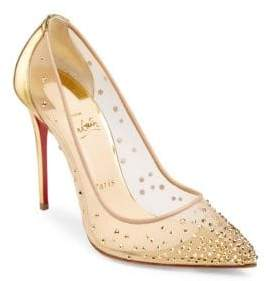 Christian Louboutin Follies Strass 100 Illusion Leather Pumps