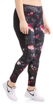 Avia Women's Plus Size Active Full Length Floral Print Racing Stripe Performance Legging