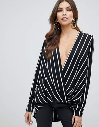 Forever Unique stripe cross front blouse
