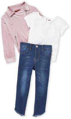 7 For All Mankind Toddler Girls) 3-Piece Velvet Moto Jacket and Pants Set