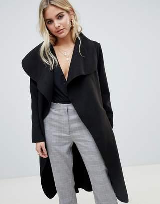 PrettyLittleThing waterfall coat in black
