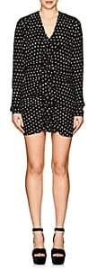 Saint Laurent Women's Ruffled-Front Dotted Crepe Dress-Wht.&blk.